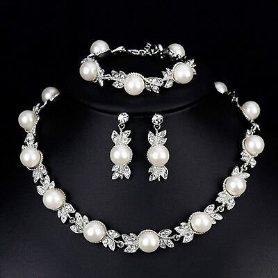 Faux Pearl Bridal Jewelry Set Silver Color Wedding Necklace Earrings Brace BR_H2