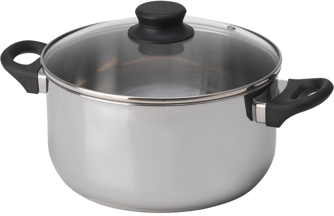 ANNONS Pot with Lid, Glass, Stainless Steel5.3 Qt