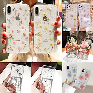 For IPhone X XS MAX XR 8 7 6 Sweet Fashion Real Dried Pressed Flowers Phone Case