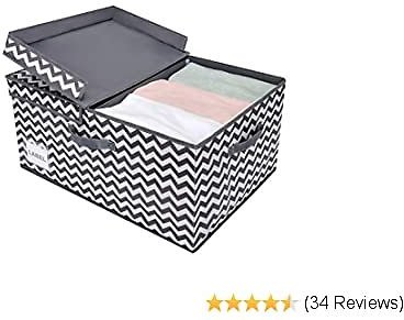 GRANNY SAYS Fabric Storage Bin with Lid, Large Storage Box with Double-Open Lid and Divider Board, Storage Closet Organizer Baskets, Dark Gray and White, Jumbo