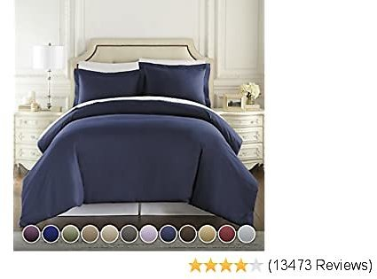 1500 Thread Count Duvet Cover Set, 3pc Luxury Soft, All Sizes & Colors, King Navy Blue