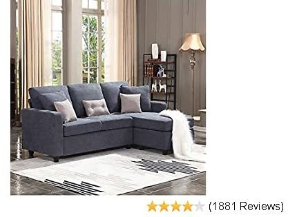 Convertible Sectional Sofa Couch L-Shaped Couch with Modern Linen Fabric for Small Space Dark Grey