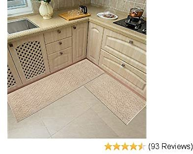 48x20 Inch/30X20 Inch Kitchen Rug Mats Made of 100% Polypropylene 2 Pieces Soft Kitchen Mat Specialized in Anti Slippery and Machine Washable,Beige