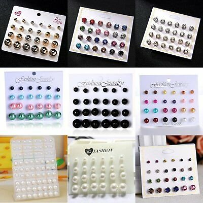 Fashion Crystal Pearl Round Men's Womens Unisex Ear Stud Earrings Set Jewellery