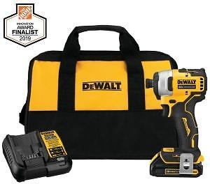 DEWALT ATOMIC 20-Volt MAX Lithium-Ion Brushless Cordless Compact 1/4 In. Impact Driver w/ (1) Battery 1.3Ah, Charger & Tool Bag-DCF809C1