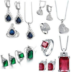 925 Silver Sapphire Red Crystal Zircon Earring Necklace Ring Wedding Jewelry Set