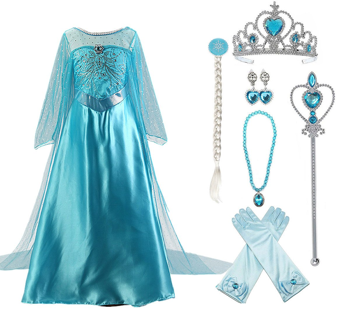 Snow Queen Elsa Princess Party Dress Little Girls Halloween Cosplay Costume with Accessories (2 Options)