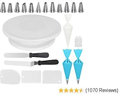 Kootek Cake Decorating Kits Supplies with Cake Turntable, 12 Numbered Cake Decorating Tips, 2 Icing Spatula, 3 Icing Smoother, 2 Silicone Piping Bag, 50 Disposable Pastry Bags and 1 Coupler
