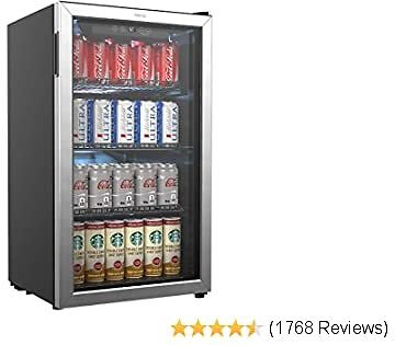 Beverage Refrigerator and Cooler - 120 with Glass Door for Soda Beer or Wine - Small Drink Dispenser Machine