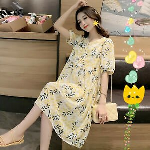 Maternity Dress Summer Flowy Dress Short Sleeve Floral Chiffon Casual Women Plus