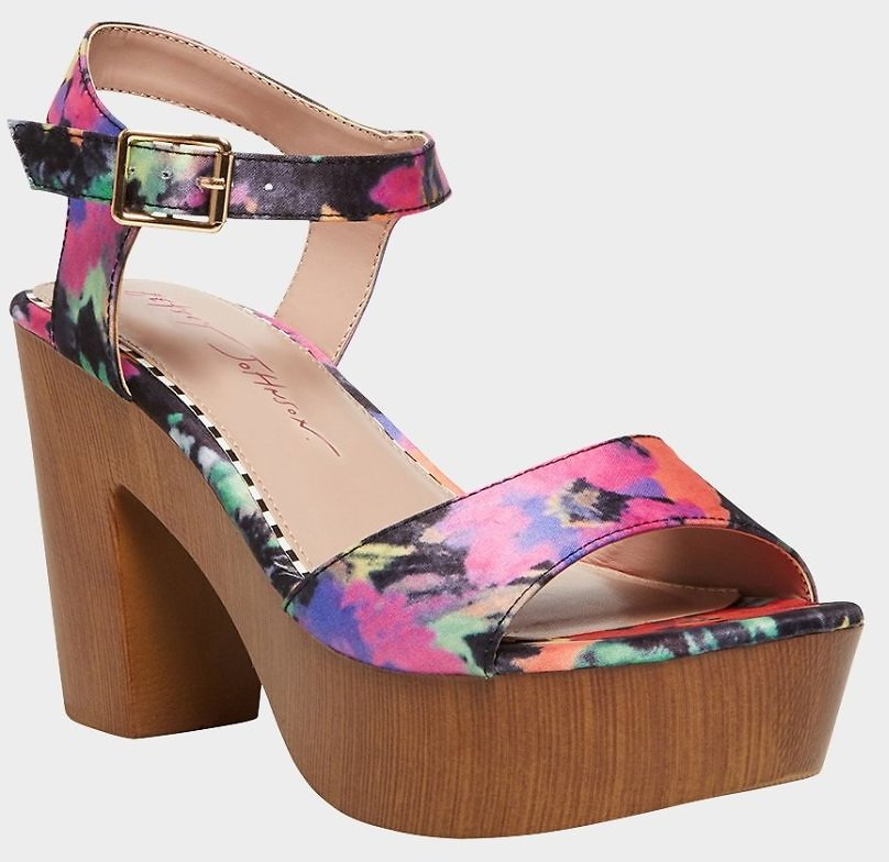 Betsey Johnson - Betsey Johnson Penn Platform Dress Sandals Black Floral Clog Platfrom Pumps
