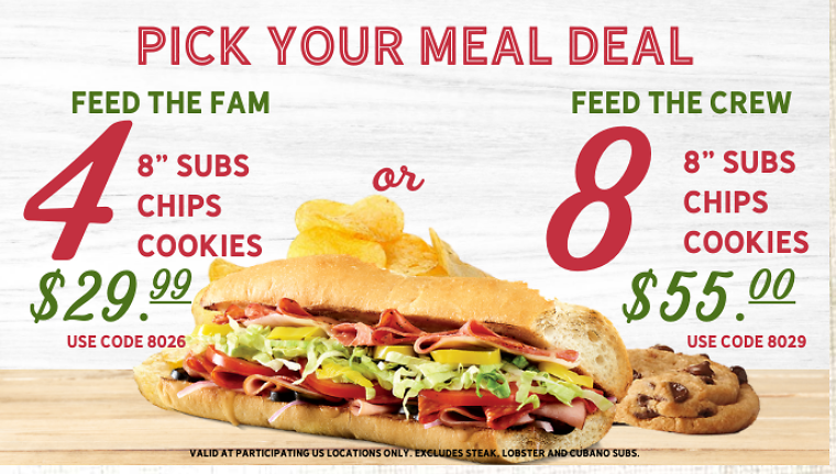 Family & Crew Meals For Special Price Quiznos Deal