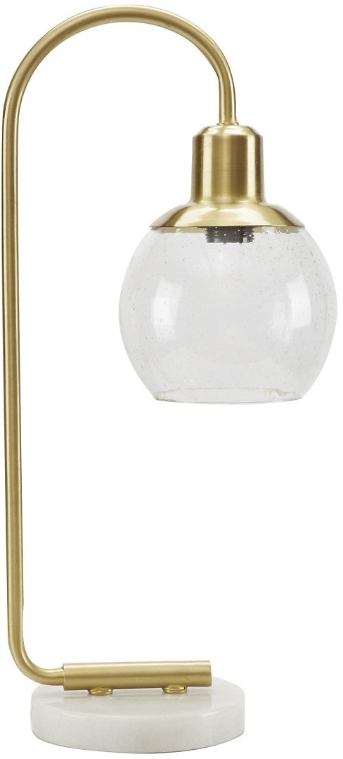 Better Homes & Gardens Real Marble Table Lamp, Brushed Brass Finish
