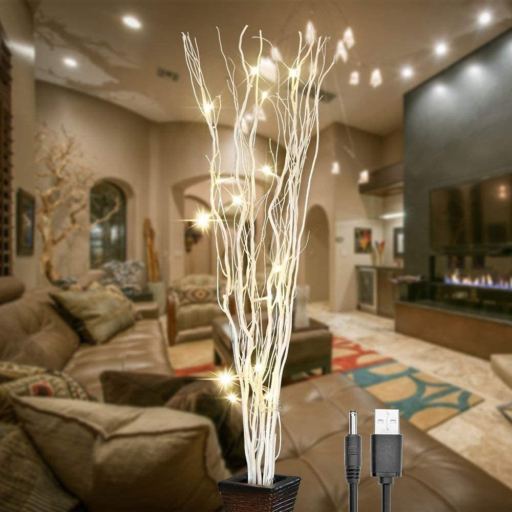 14% OFF - 36Inch 16LED Natural Willow Twig Lighted Branch for Home Decoration By LIGHTSHARE (USB Plug-in & Battery Powered)