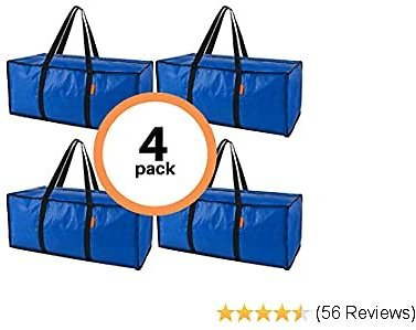 Heavy Duty Extra Large Storage Bags 4 Pack | Moving Bags for Moving Supplies | Reusable Moving Tote Storage Bin | Great for Clothes Storage, Comforter, College, Bedroom, Laundry, Organizer Bins