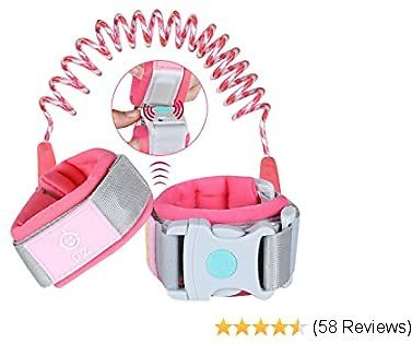 Lehoo Castle Upgraded Anti Lost Wrist Link, Kid Harness with Induction Lock, Safety Wrist Leash for Toddlers, Safety Harness for Kids, Backpack Leash for Kids (Rose)