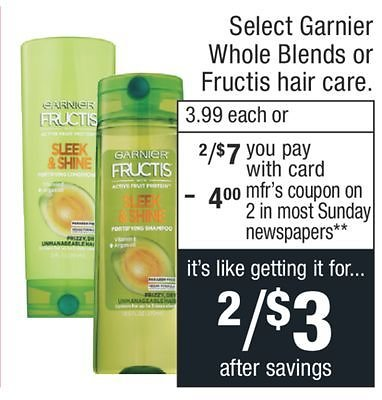 2 For $2 Select Garnier Whole Blends or Fructis Hair Care