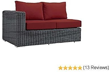 Modway EEI-1872-GRY-RED Outdoor Patio Sunbrella Left Arm Loveseat, Canvas Red