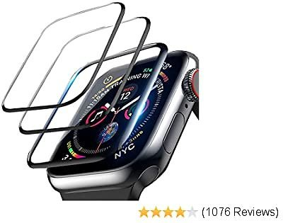 3-Pack LOZA Screen Protector for Apple Watch Series 5/4 40mm, 3D Curved Edge Anti-Scratch Anti-Bubble Ultra HD Flexible Film Protector with Black Edge for IWatch Series 5/4 (40mm)