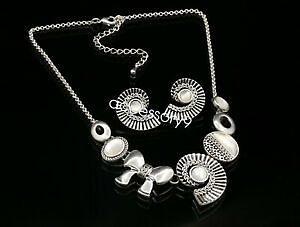 Rope Design Swirl Shell Crystal Collar Charms Necklace Stud Earrings Jewelry K05