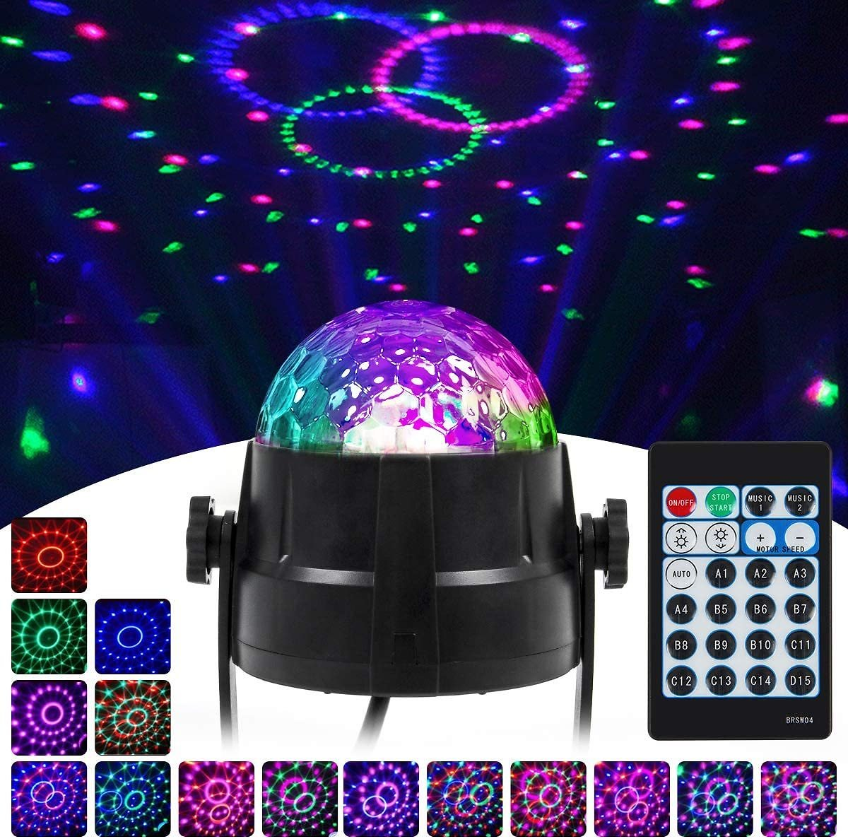 Disco Ball Lights LED Party Light 15 Colors Red Green Blue Pink Stage Lighting Effect Lamp for Room Dance Parties Birthday Karao