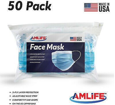 Made in USA 50 Pack Disposable Face Mask 3 Ply Dental Surgical Medical Masks 703519074943