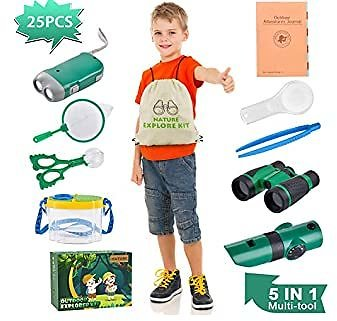 Outdoor Explorer Kit, Bug Catcher Kit with Binoculars, Magnifying Glass, Bug Container, Flashlight, 5 in 1 Tool, Butterfly Net and Backpack Educational Toys for Boys Girls Age 3-12 Camping Hiking