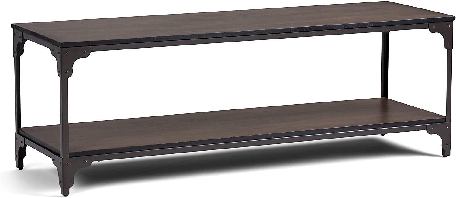 Simpli Home Nantucket SOLID WOOD Universal TV Media Stand, 54 Inch Wide, Modern Industrial, Living Room Entertainm, Walnut Brown
