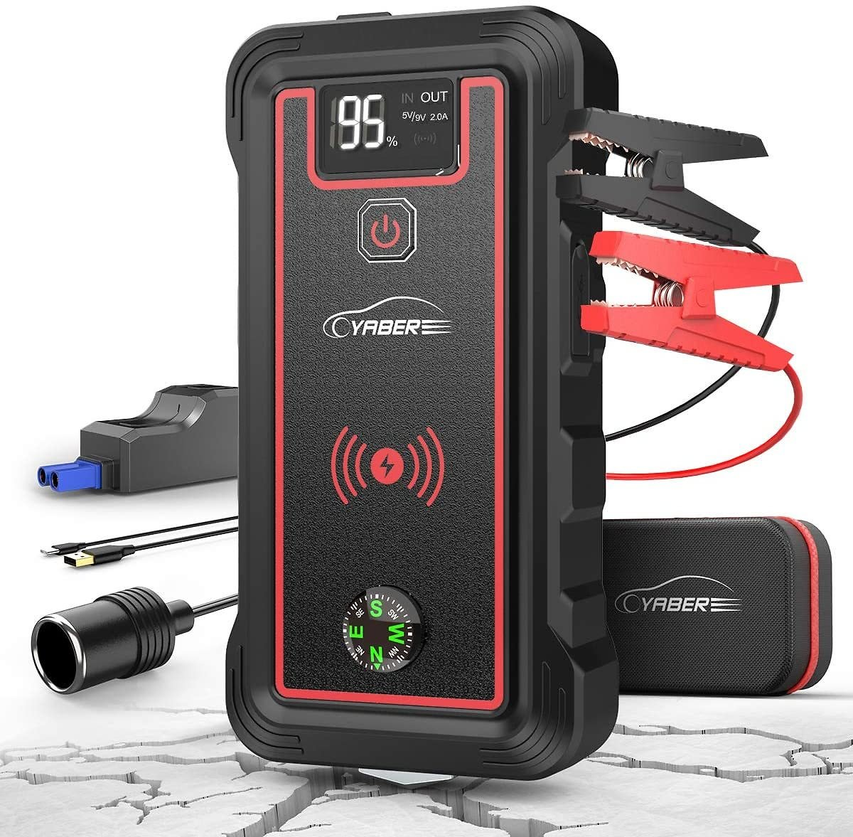 YABER Car Jump Starter, 2500A Peak 23800mAh Car Battery Jump Starter(All Gas or 8.0L Diesel) Portable Wireless Charger with LED Flashlight, EC5 Cigarette Lighter, Safety Hammer, LCD Screen
