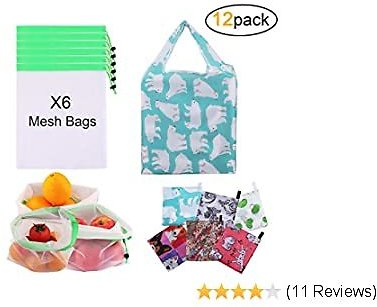 Reusable Grocery Bags, 12 Pack