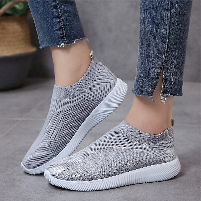US $9.13 71% OFF|Women Shoes Plus Size Sneakers Women Breathable Mesh Sports Shoes Female Slip On Platform Sneakers White Knit Sock Shoes Casual|Women's Vulcanize Shoes| - AliExpress