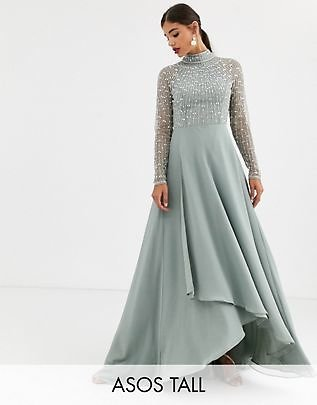 ASOS DESIGN Tall Maxi Dress with Linear Embellished Bodice and Wrap Skirt