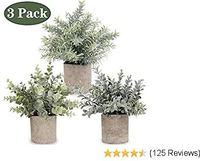 APPOK Artificial Potted Plants Mini Fake Eucalyptus Plant, Small Plastic Green Plant with Pot, Faux Rosemary Plants for Home Decor, Indoor, Table Decoration - 3 Pack, Flocking Green