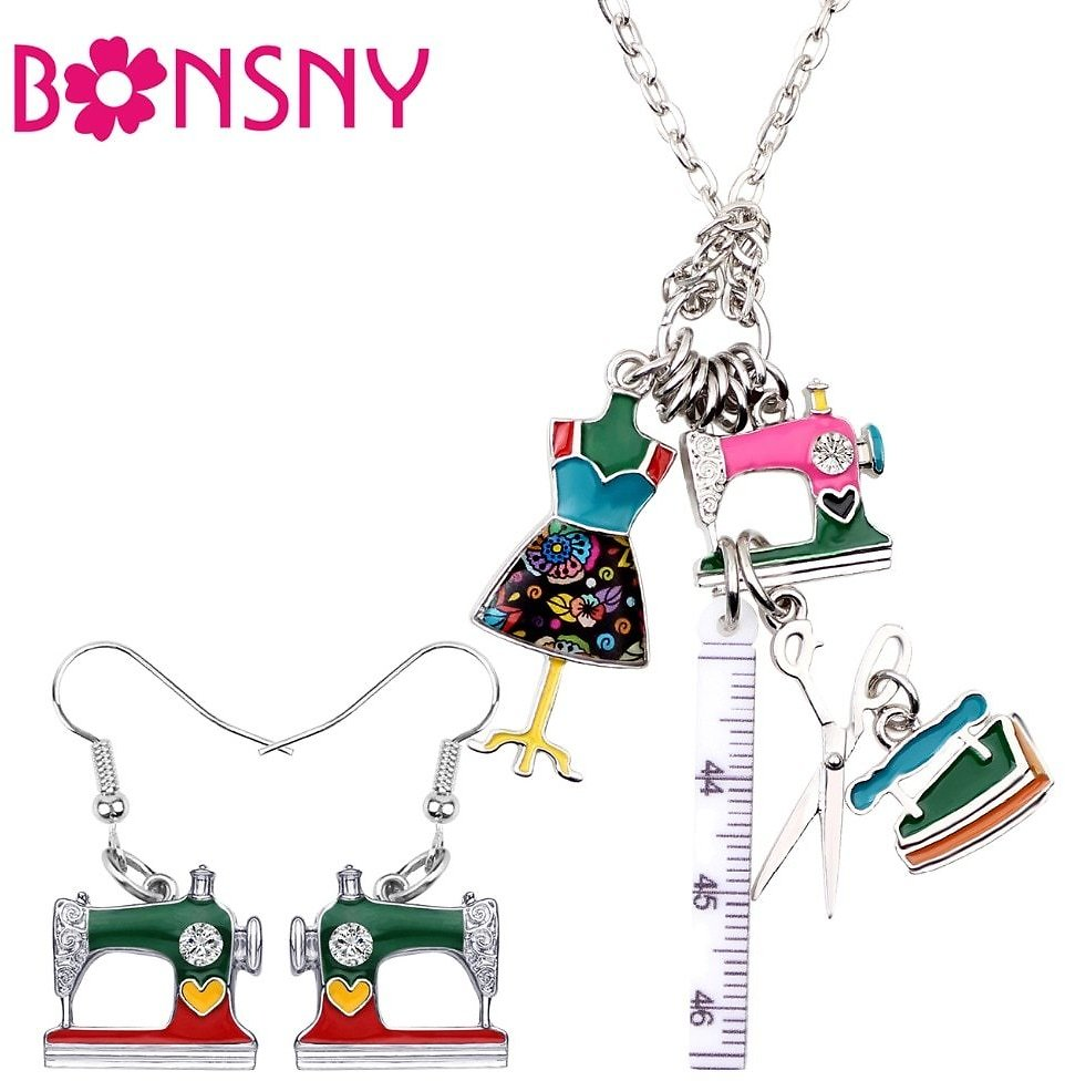 US $3.97 71% OFF|Bonsny Enamel Alloy Sewing Machine Tools Ruler Scissors Tailor Iron Earrings Necklace Retro Jewelry Sets For Women Girls Gift|Jewelry Sets| - AliExpress