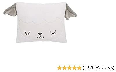 NoJo White & Grey Soft Sherpa Lamb Shaped Decorative Pillow with 3D Ears, White, Grey