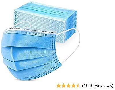50PCS Disposable Face 3 Layer Anti-Dust Earloops Protective Cover Mask(Blue) 42% Off
