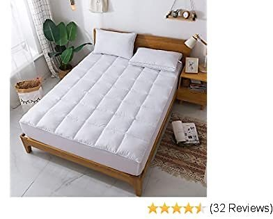 WhatsBedding Mattress Pad King Size - Breathable Fitted Sheet -Soft Quilted Mattress Cover,King Mattress Protector White Mattress Topper King