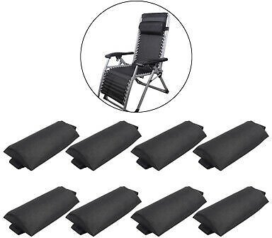 8pcs Folding Sling Chairs Sun Lounger Removable Head Cushion Pillows for Outdoor