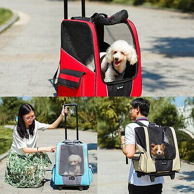 Pet Dog Animal Trolley Carrier Stroller Travel Backpack Wheeled Cage Crate Bag