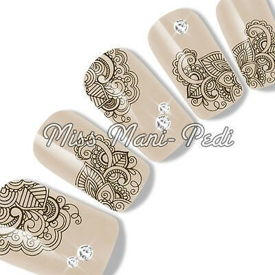 Boho Nail Art Water Decals Transfers Stickers Brown Henna Festival Nails G137