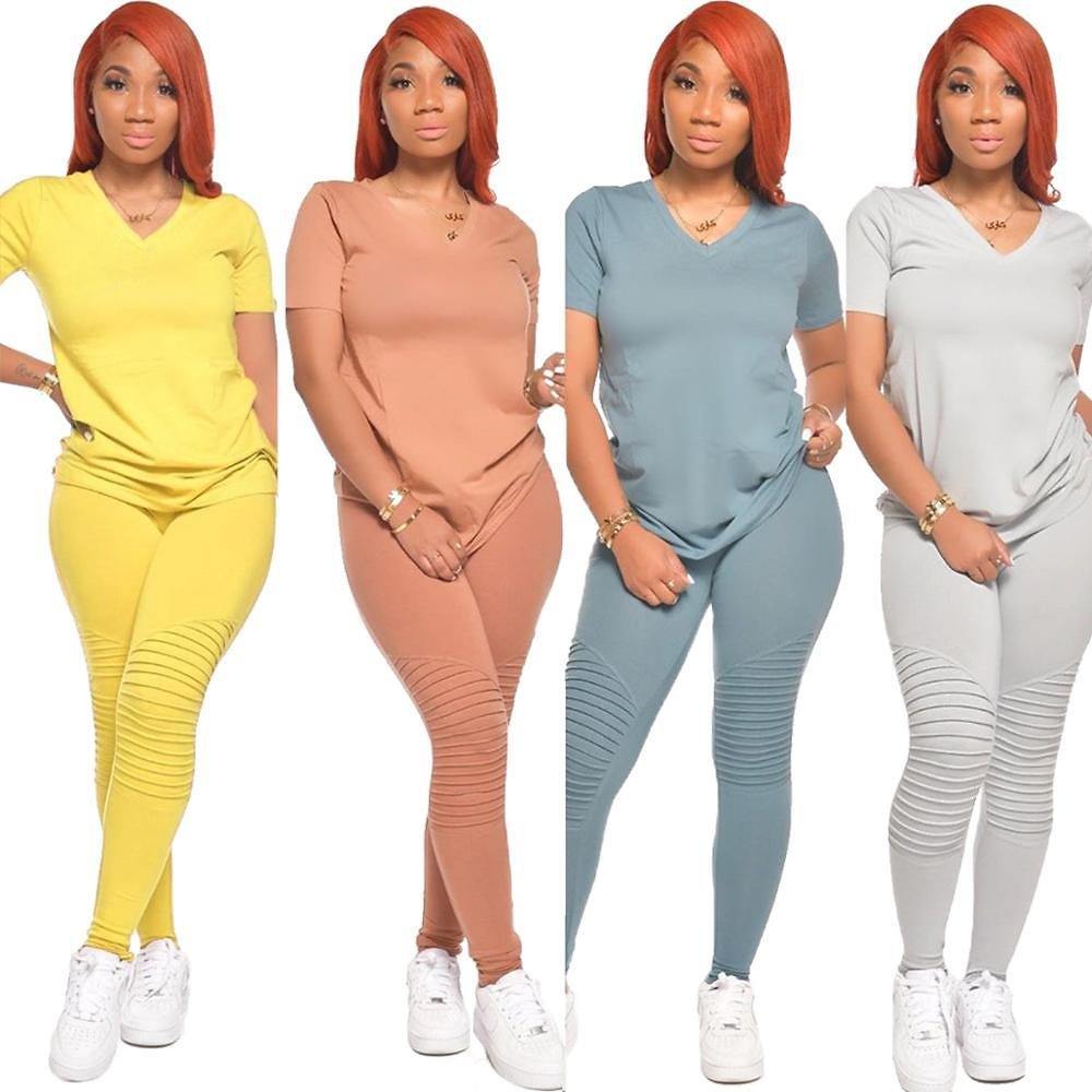 US $14.48 51% OFF|Women Ruched Stacked Pants Solid Tshirt Pleated Pants 2 Pieces Sets Tracksuits Club Outfits Lounge Wear Summer 2020|Women's Sets| - AliExpress