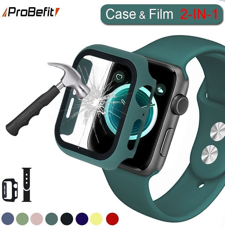 US $1.17 22% OFF|360 Full Screen Protector Bumper Frame Matte Hard Case for Apple Watch 5/4/3/2/1 Cover Tempered Glass Film for Iwatch 4/5|Watch Cases| - AliExpress