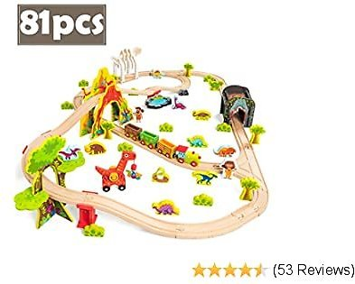 COSSY Dinosaur Theme Wooden Train Set - 81 Pcs Railway Tracks & Accessories, Magnetic Trains Cars for Toddlers & Older Kids (Large)
