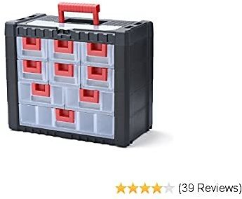 Delxo Parts Storage Organizer with Handle Craft Storage Cabinet for Hardware, Arts, Crafts, Tools, Toys Perfect For Home DIY Hobby Craft or Shed Organize Your Space Put An End to Clutter