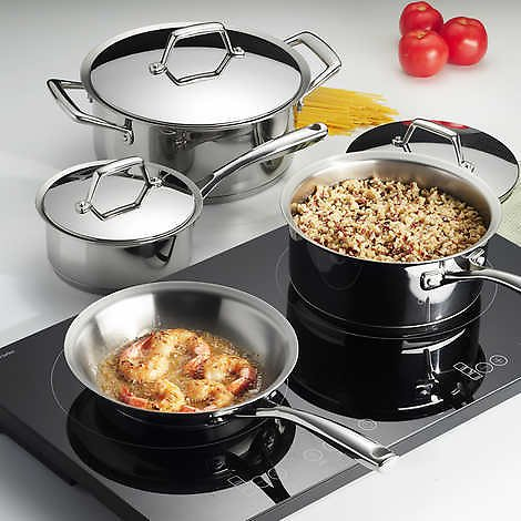 8-Piece Tramontina Double Hob Induction Cooking System – Tri-Ply Base SS Cookware