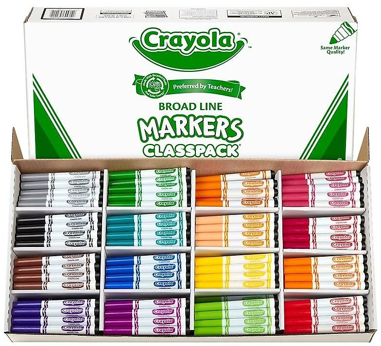 Crayola Kid's Markers, Broad Line, Assorted Colors, 256/Carton + F/S
