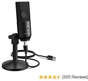 Fifine Podcast Microphone USB with Headphone Monitoring 3.5mm Jack and Pluggable USB Connectivity Cable for Computer,PC,Mac/Windows,Recording Voice Over, Streaming Twitch/Gaming/YouTube/Discord-K670B