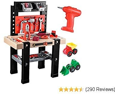 IBaseToy Kids Tool Bench, 91Pieces Toy Workbench with Electric Drill, Construction Toy Vehicles, and Storage Space Underneath Toddler Tool Bench