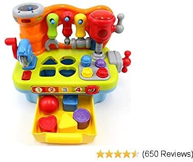 CifToys Musical Learning Workbench Toy for Kids Construction Work Bench Building Tools with Sound Effects & Lights Engineering Pretend Play