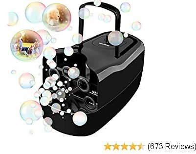 TOLOCO Bubble Machine,Bubble Machine for Kids Outdoor- Automatic Portable Bubble Maker,3000 Bubbles Per Minute-Powered By Plug-in or Batteries,for Outdoor, Indoor